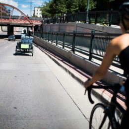 DENVER, CO - JULY 21: Scraps founder Christi Turner and her intern Joel Cruz bike through the streets of Denver, Colorado to collect compost from their clients on July 21, 2017. (Photo by Gabriel Scarlett/The Denver Post)