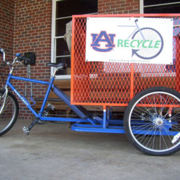 Pedal truck on Auburn's college campus. Eco-friendly vehicle for sustainable transportation. Manufactured by Main Street Mobility. www.pedaltruck.com